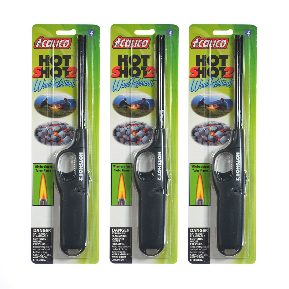 3 pack of Calico HOT SHOT 2 Wind Resistant Lighters