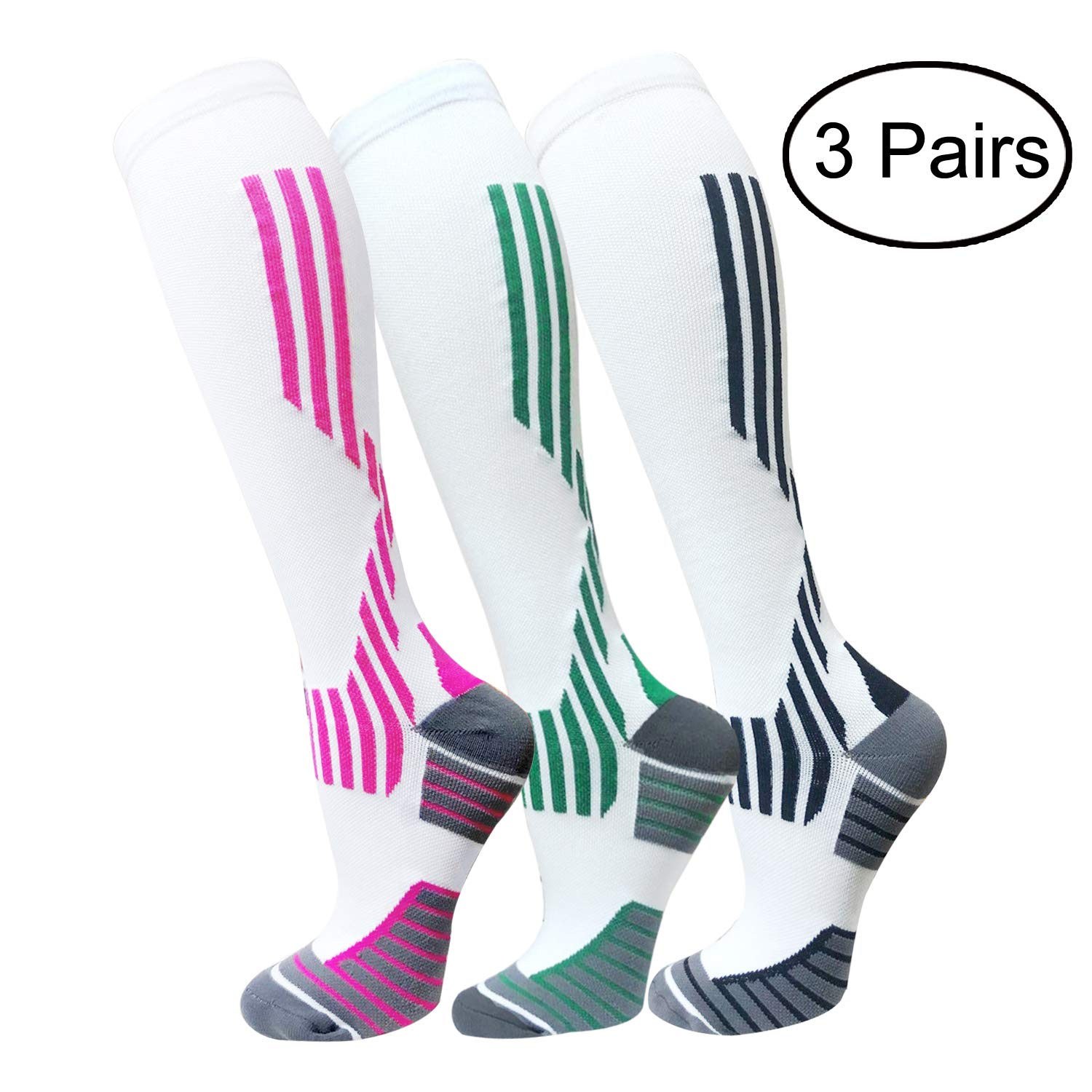 Copper Compression Socks For Men & Women(3 Pairs)- Best For Running,Athletic,Medical,Pregnancy and Travel -15-20mmHg (S/M, Multicoloured 11)