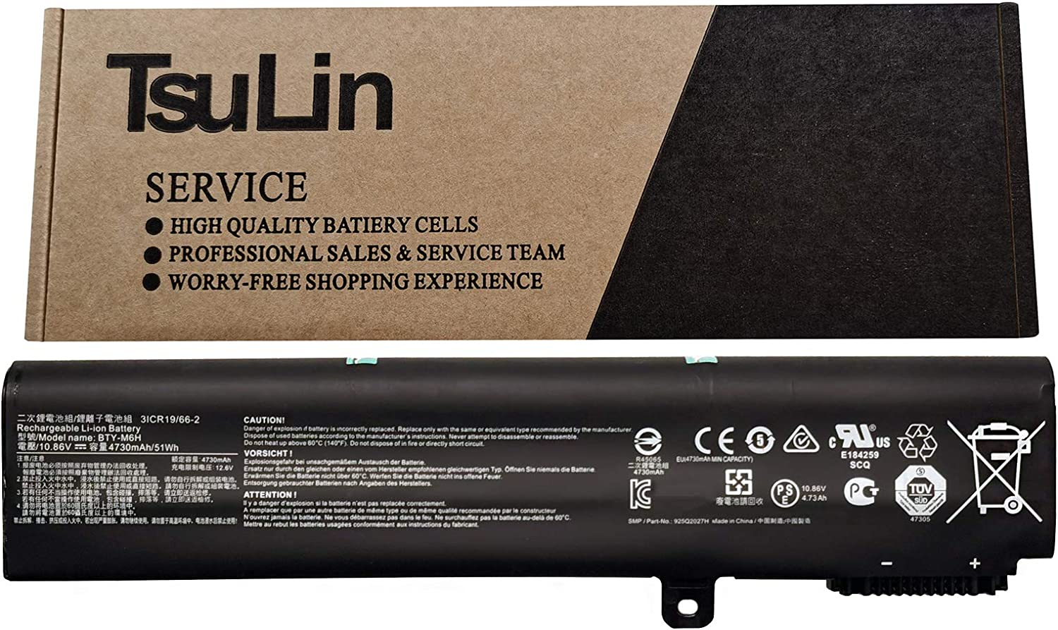 TsuLin BTY-M6H Laptop Battery Replacement for MSI GE62 GE72 GP62 GP72 GL62 GL72 MS-1792 MS-1795 MS-1796 MS-16J1 MS-16J2 MS-16J3 MS-16J4 MS-16J5 MS-16J6 Series Notebook 10.86V 51Wh 4730mAh