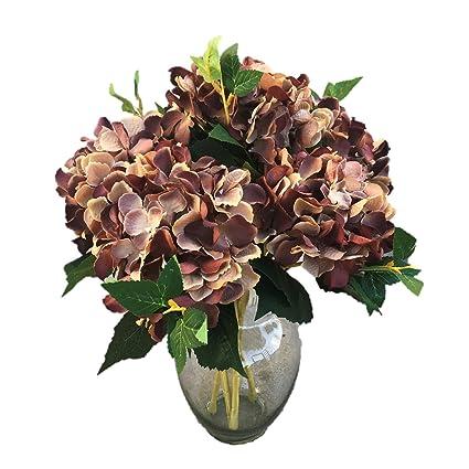 Amazon Silk Flower Garden Single Stem Hydrangea 6 Pc Brown