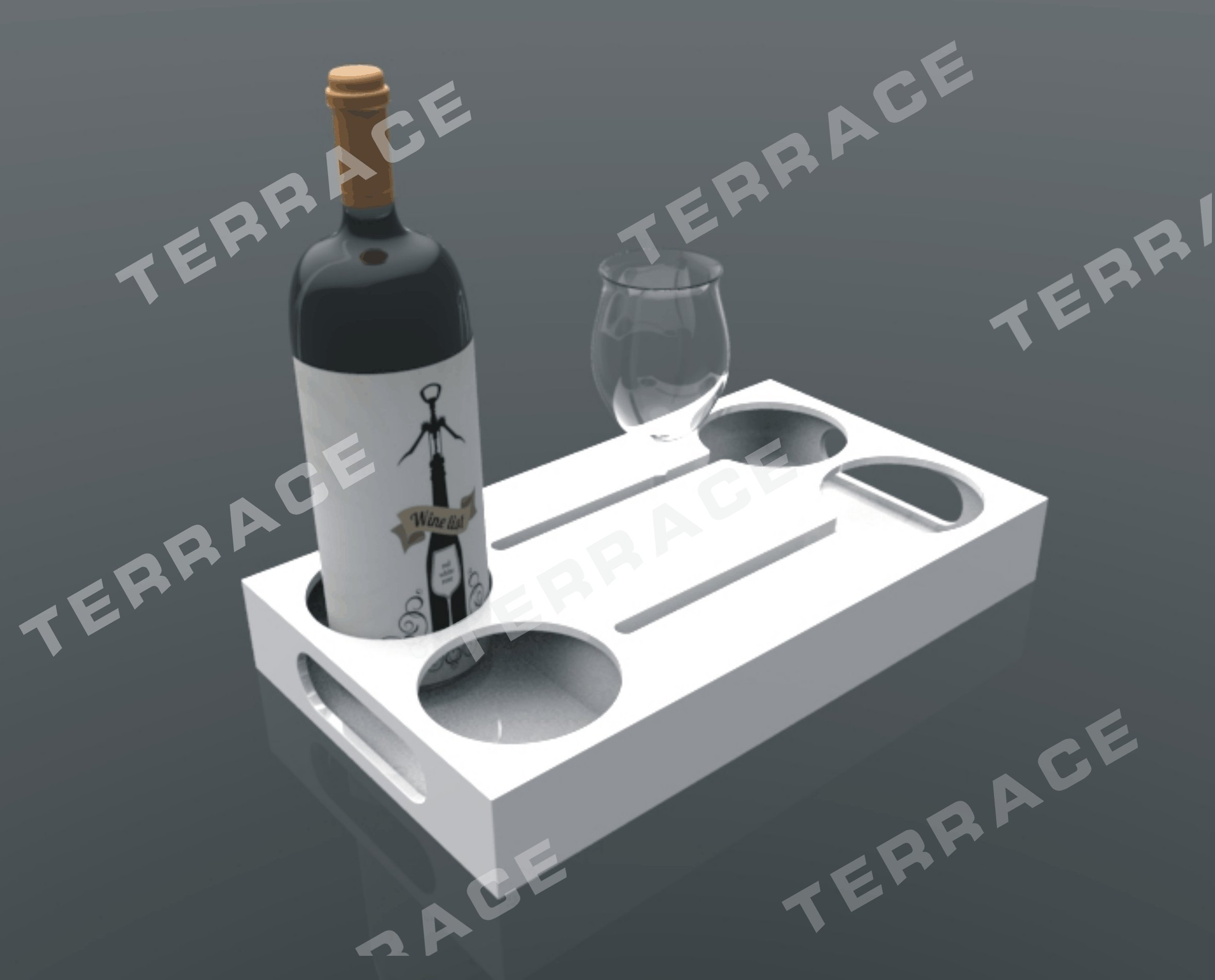 Tabletop slot plexiglass wine bottle & glass holder rack