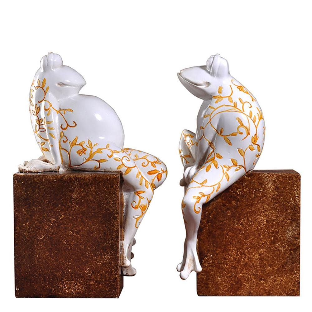LPY-Set of 2 Bookends Resin Painted Frog Style Handicrafts, Book Ends for Office or Study Room Home Shelf Decorative