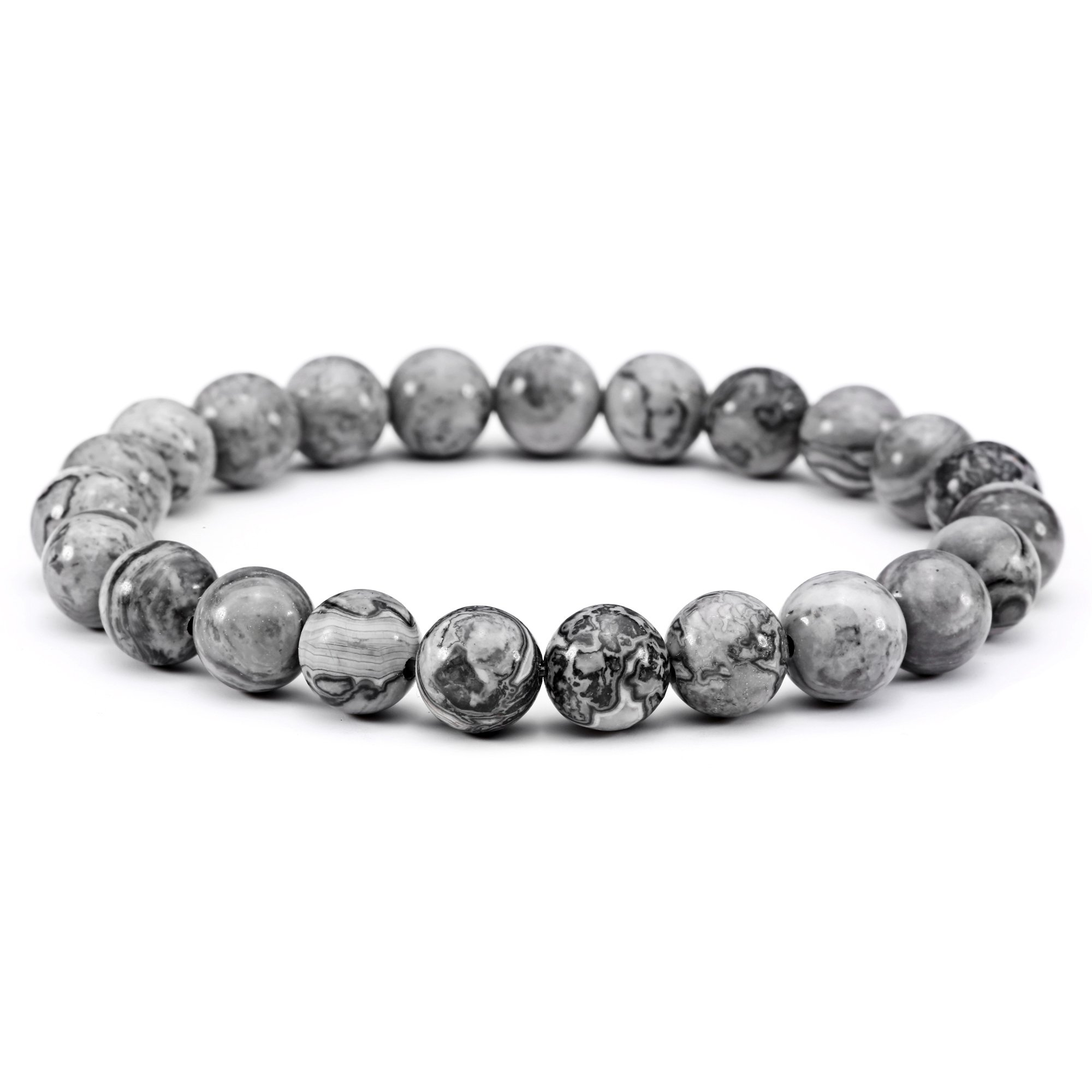 Jade cabbage Men Bracelets Natural Stone Healing Energy Balance Beads (8mm) Gray Stretch 7.5''