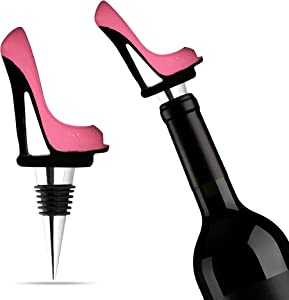 Trovety Wine Stopper - Pink Shoe Elegant High Heels Cork for Women, Bachelorette Party Decor - Decorative Stainless Steel Beverage Topper - Reusable Champagne Bottle Plugs - Gift for Alcohol Lovers