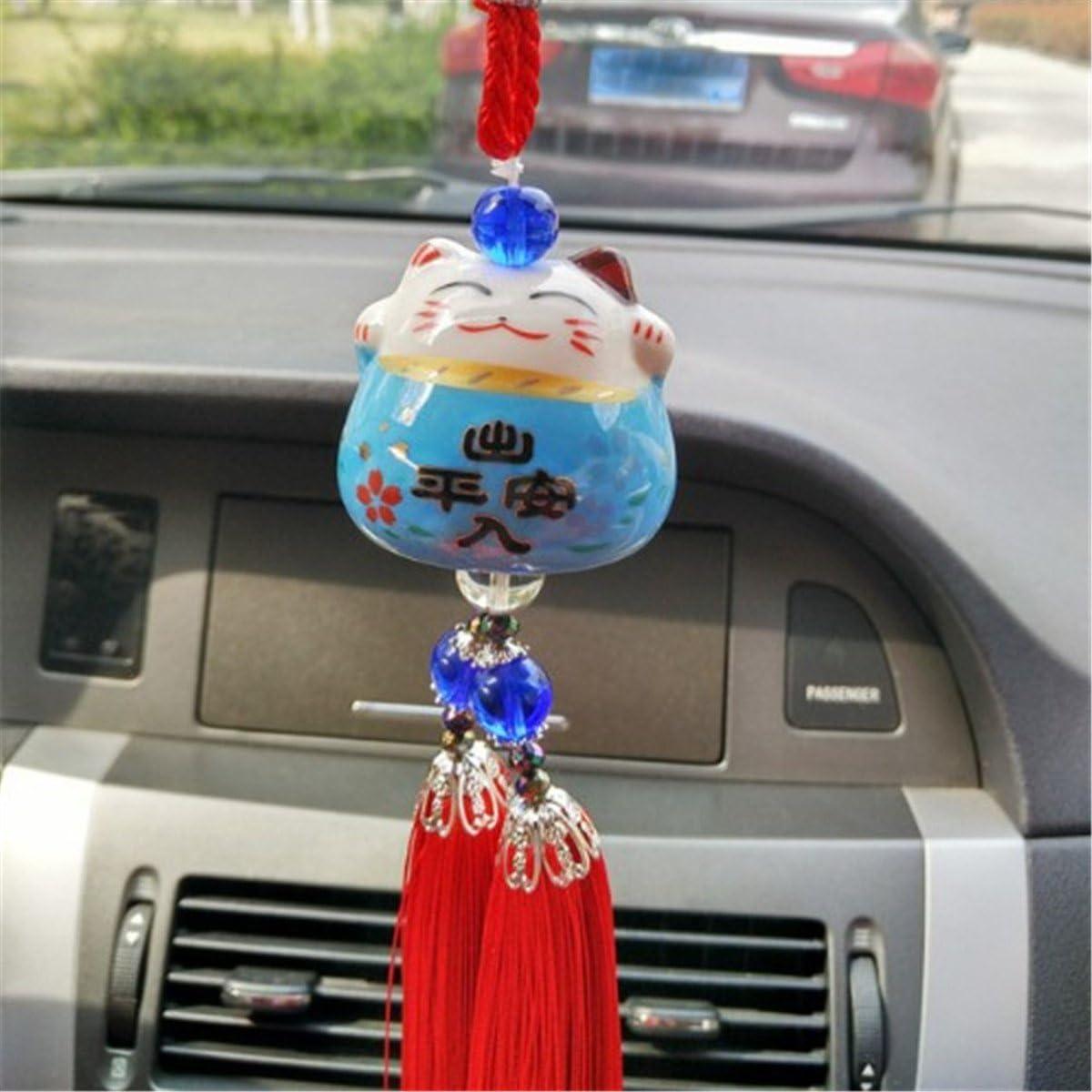 UZHOPM Lucky Cat Car Pendant Chinese Ceramic Car Hanging Ornament Car Interior Decor Pink/&Blue