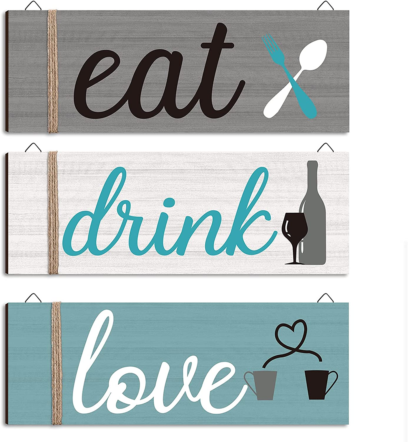 Jetec 3 Pieces Wood Home Sign Rustic Wooden Kitchen Wall Decor Eat Drink Love Wood Sign with Hanging Hole for Home Kitchen Dining Living Room Bar Cafe Decoration (Fresh Color)