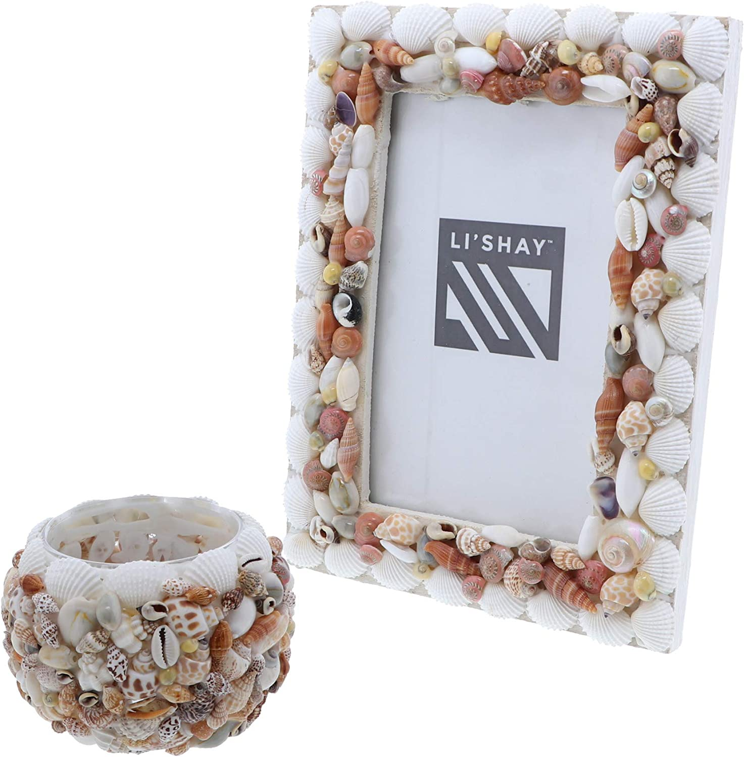 Li'Shay Picture Frame with Mixed Shells & Candle Holder with Seashells Home Décor Set