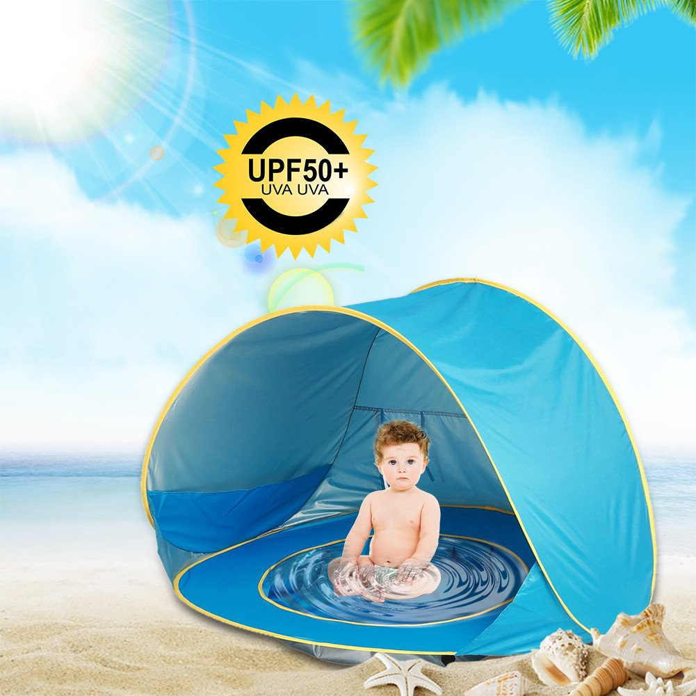 Baby Beach Pop Up Tent UV Protection, Baby Beach Pool Portable Sun Shelter for 1-3 Kids Automatic Foldable Suitable for Beach Holidays/Family Garden/Camping/Fishing