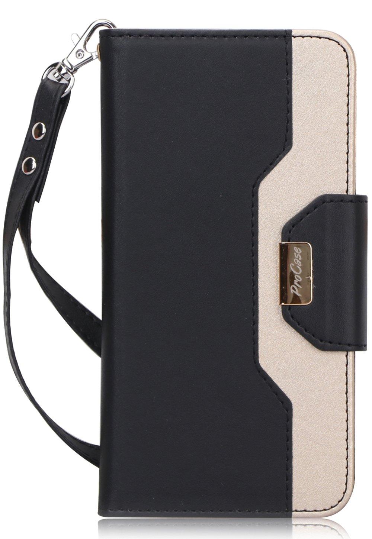 ProCase Galaxy J7 2018 Wallet Case, Galaxy J7 Aero/J7 Star/J7 Top/J7 Crown/J7 Aura/J7 Refine/J7 Eon Folding Flip Kickstand Case Protective Book Cover with Card Holders Mirror Wristlet -Black