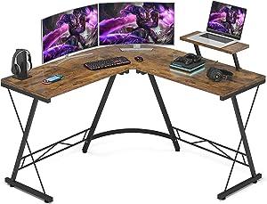 Foxemart L Shaped Gaming Desk 51'' Corner Game Desk Home Office Desks with Large Monitor Stand Computer Desk with Round Corner, Vintage