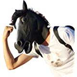 CreepyParty Deluxe Novelty Halloween Costume Party Latex Animal Black Horse Head Mask