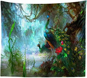 BOYOUTH Tapestry Wall Hanging,A Pair of Peacocks in The Fantasy Forest Pattern Digital Print Wall Tapestry Art Home Decor for Living Room Bedroom Dorm,59.1