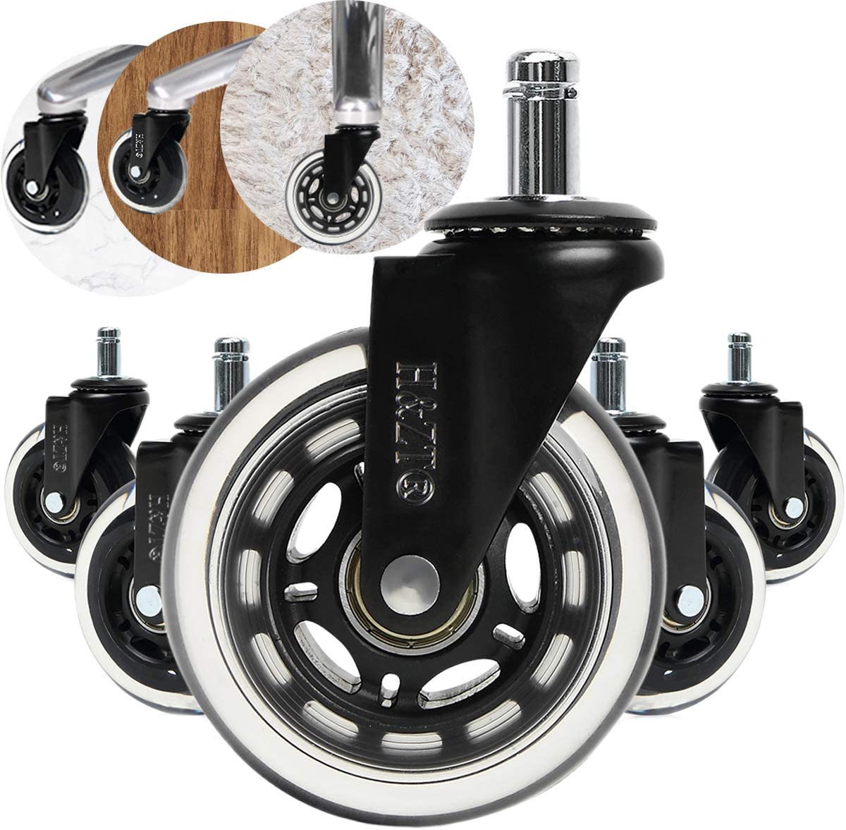 """H&ZT Office Chair casters Office Stem casters Heavy Duty & Safe for All Floors Including Hardwood, Supports up to 650 lbs (3"""" 5pcs, black)"""