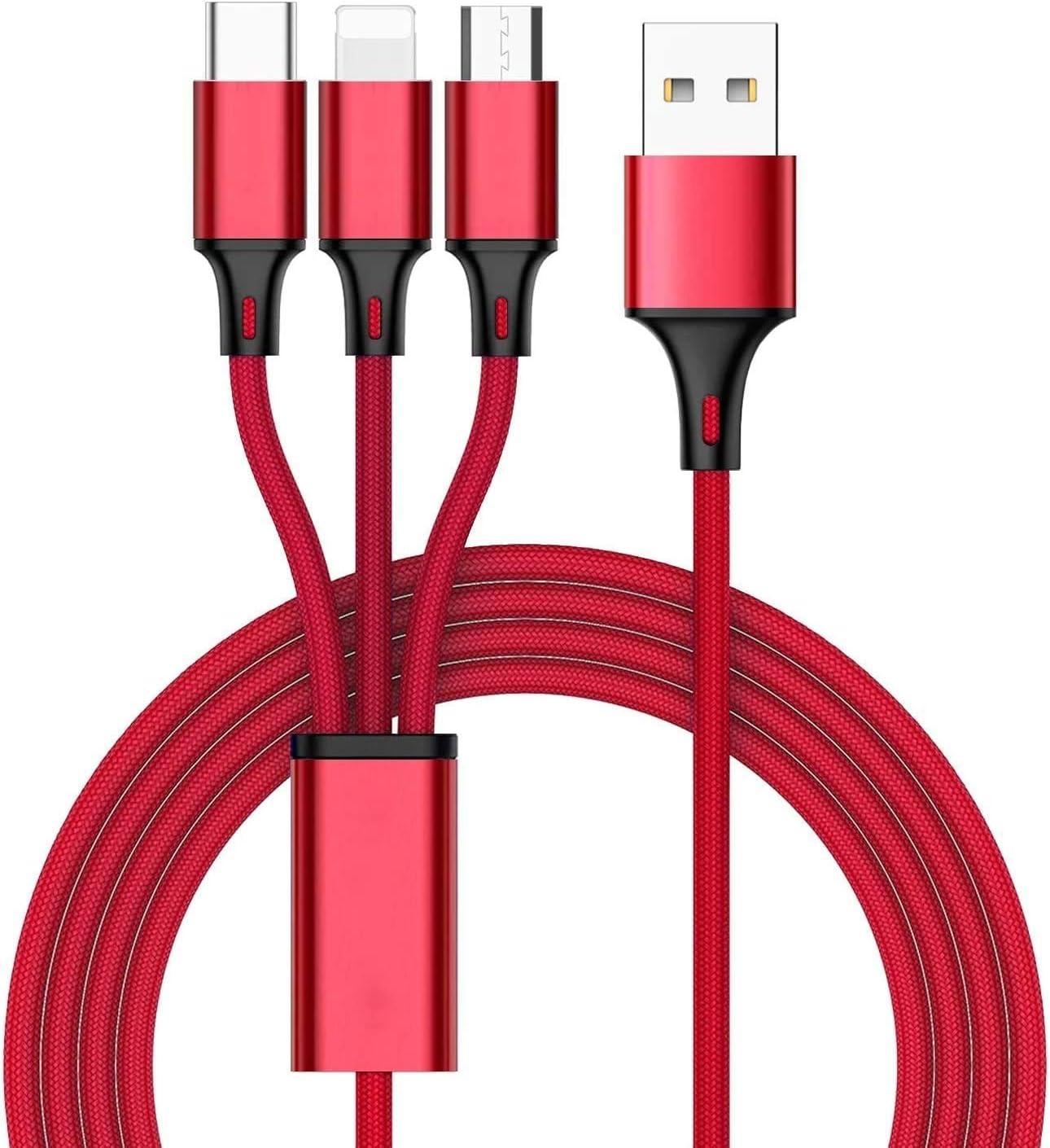 ZKAPOR 3 en 1 Multi Cable de Carga, Nylon Multi USB Cargador Cable Múltiples Micro USB Tipo C Compatible con Galaxy S10/S9/S8/S7/S6, Huawei P30/P20, Xiaomi Redmi Note 7/Mi A3/A2/A1 - Rojo