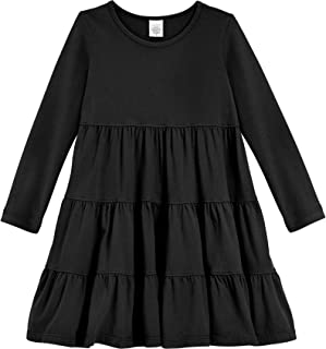 product image for City Threads Girls' Super Soft Cotton Long Sleeve Tiered Dress Princess Made in USA