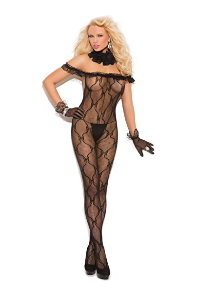 858abbc705 Amazon.com  Elegant Moments Women s Plus-Size Bow Tie Lace Bodystocking  with Ruffle Top