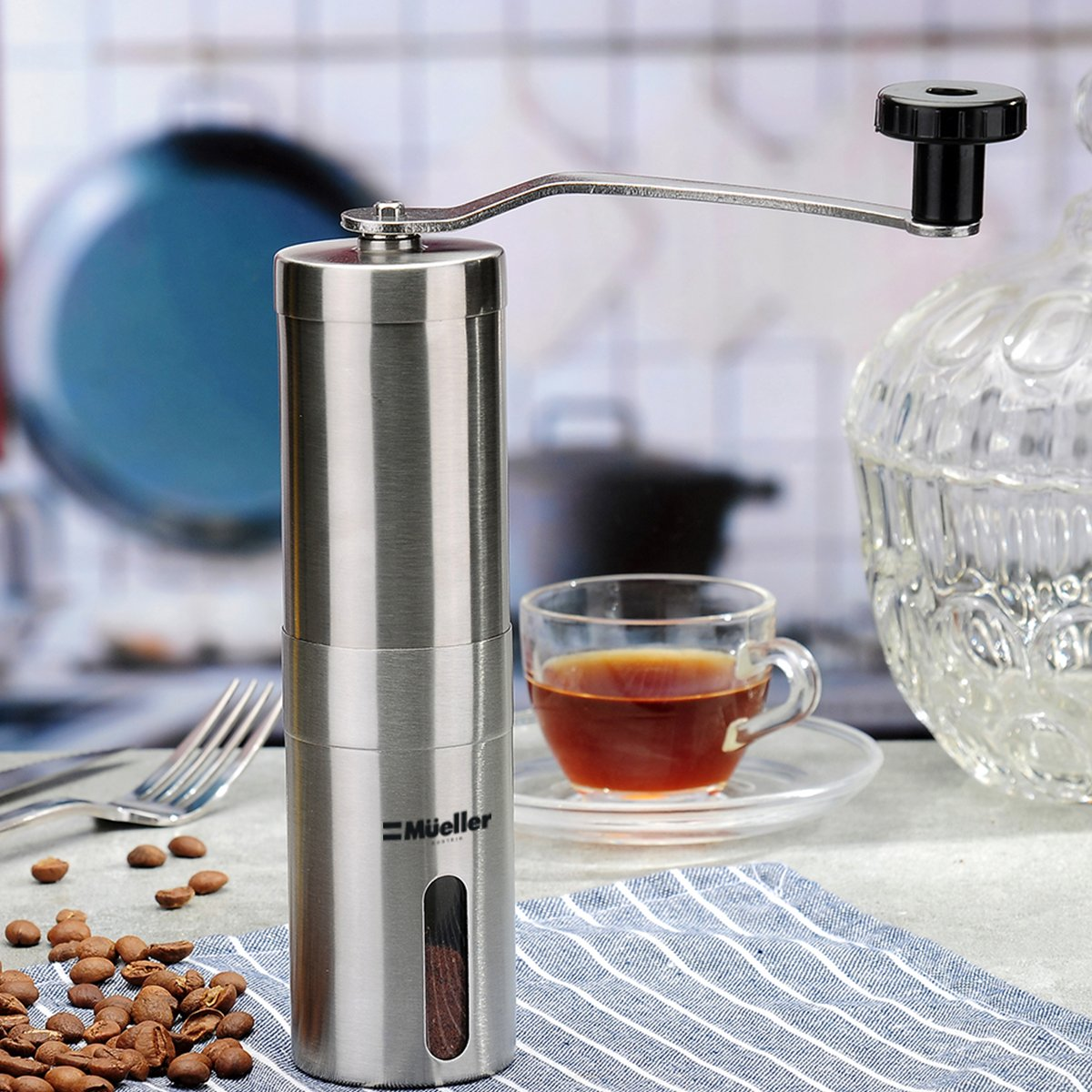 Mueller Ultra-Grind - Strongest and Heaviest Duty Portable Conical Burr Mill, Whole Bean Manual Coffee Grinder for French Press, Turkish, Handheld Mini, K Cup, Brushed Stainless Steel by Mueller Austria (Image #2)