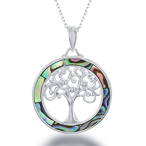 Beaux Bijoux Sterling Silver and Gold Tone Created Blue Opal, MOP or Abalone 18 Tree of Life Pendant Necklace