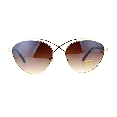 SA106 Retro Unique Cross Bridge Metal Cat Eye Sunglasses