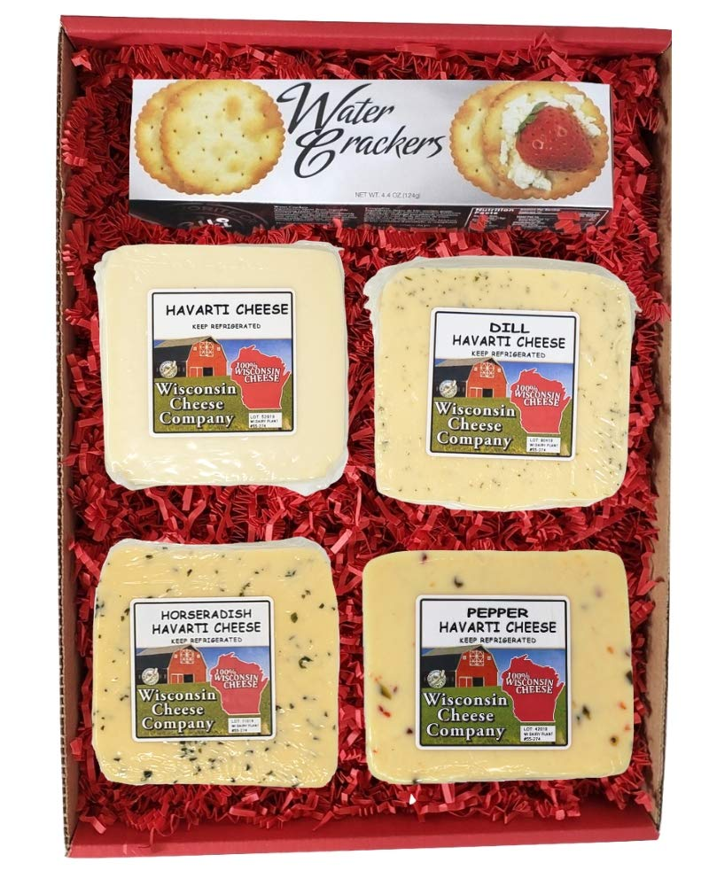 WISCONSIN CHEESE COMPANY'S -100% Wisconsin Cheese Big Classic Havarti Specialty Cheese & Cracker Gift Box. A Snack or Food Gift, Cheese Gift, Birthday Cheese Gift, Family and Friends Gift to Send. Cheese Assortment and Cheese Sampler - Cheese Board Assortment