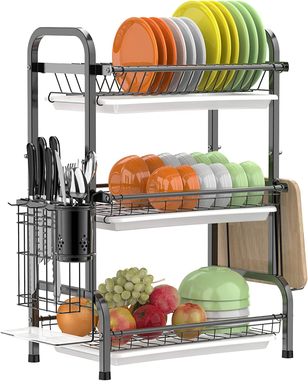 Dish Drying Rack Gslife Stainless Steel 3 Tier Dish Rack With Tray Utensil Holder Rustproof Dish Drainer For Kitchen Counter Black