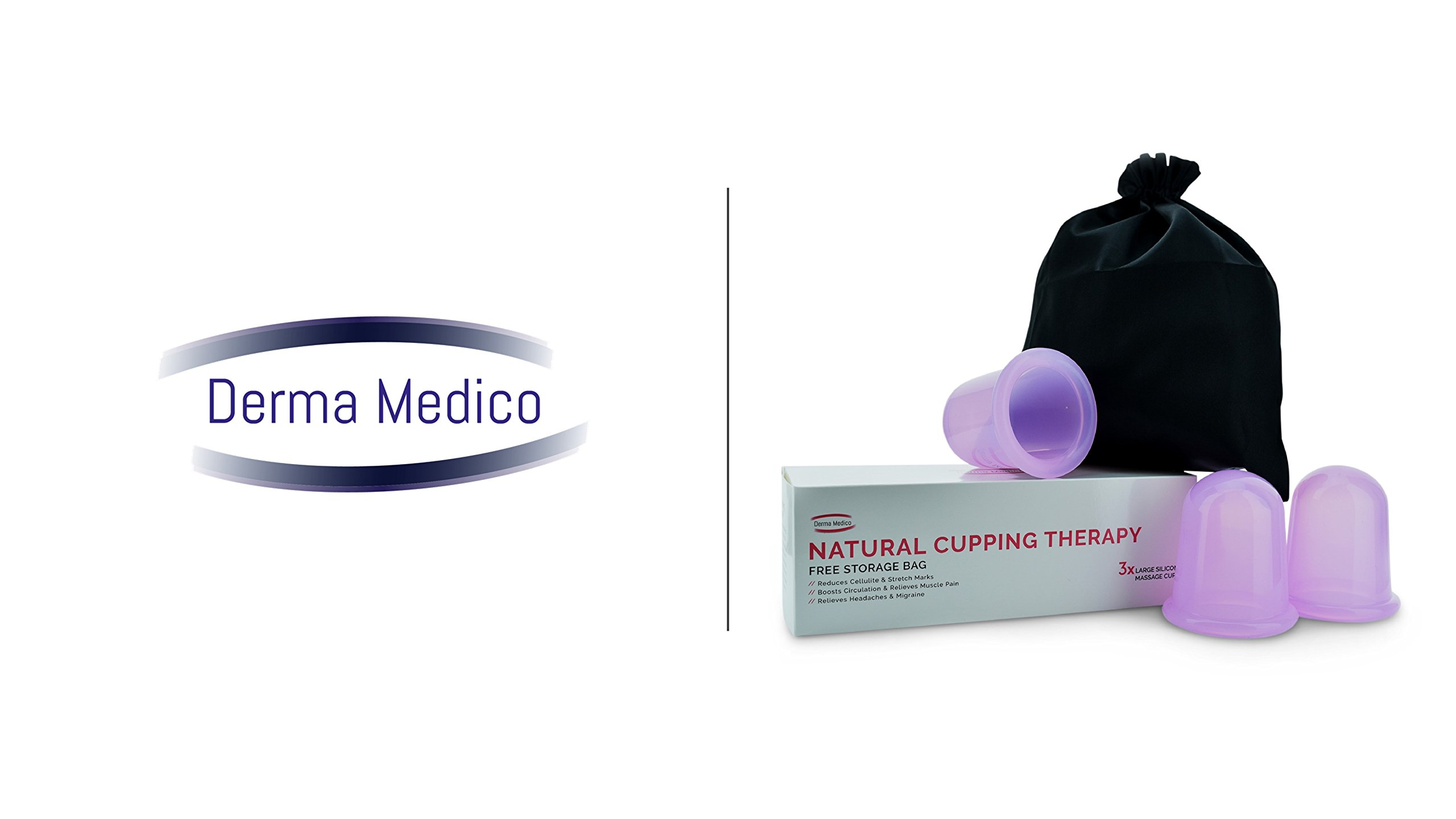 Derma Medico Silicone Body Massage Cups for Natural Cupping Therapy – Gift Box of 3 Large Vacuum Cups with FREE Storage Bag and Instructions – Reduces Cellulite and Stretch Marks, Relieves Muscle Pain – Promotes Relaxation and Relieves Stre