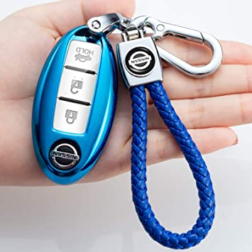 for Nissan Key Fob Cover,Key Fob Case for Nissan Altima Maxima Murano Rogue Sentra 370z Pathfinder Smart Remote Premium Soft TPU Nissan Key Cover (3 4 5-Button)