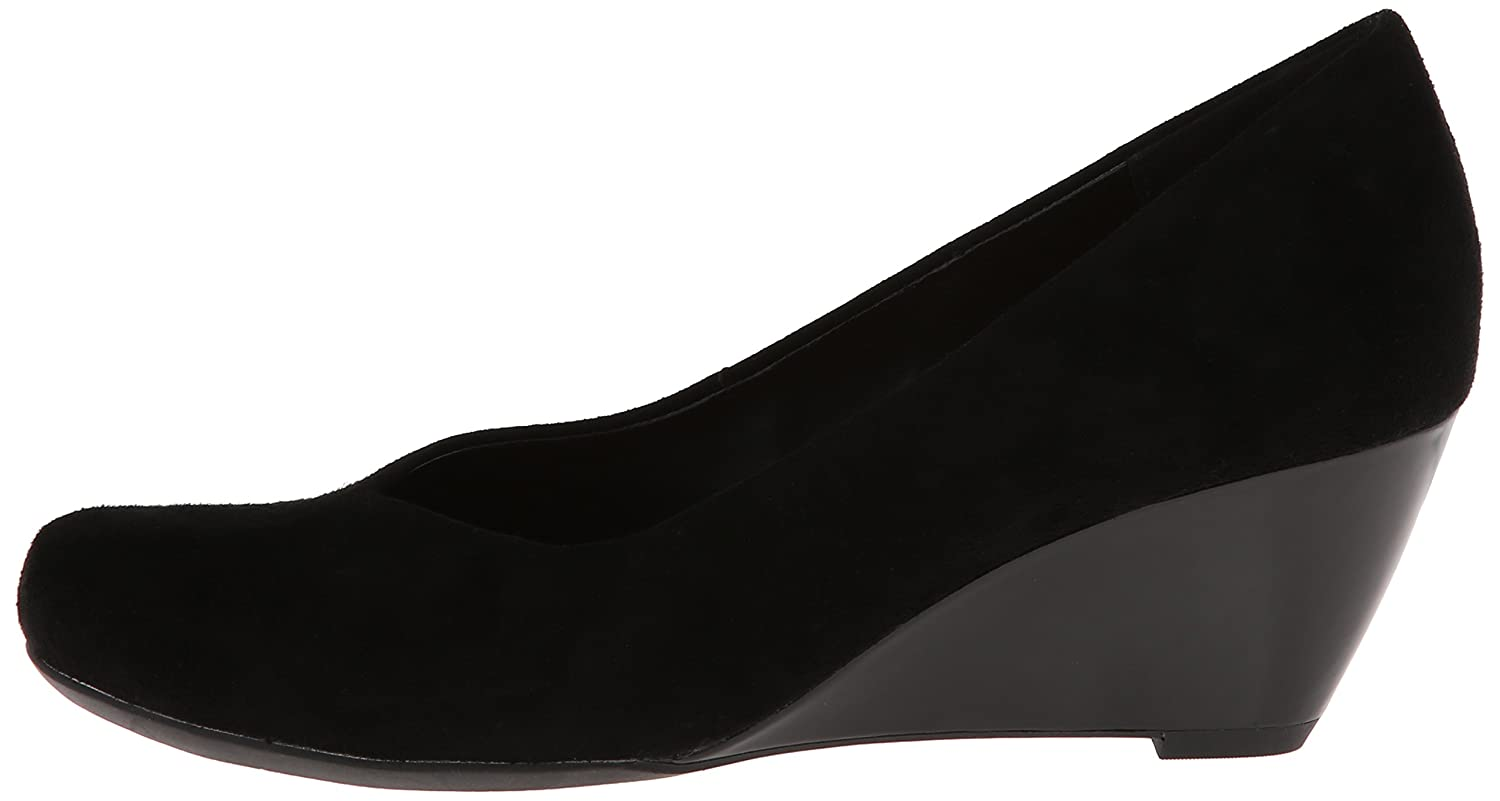 Amazon.com | CLARKS Women's Bassett Mine Wedge Pump, Black Suede, 8 M US |  Pumps
