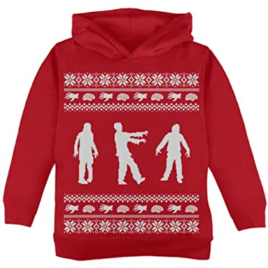 Old Glory Zombie Ugly Christmas Sweater Red Toddler Hoodie