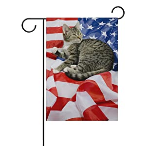 ALAZA Double Sided Independence Day 4th of July American Flag Patriotic Cat Polyester Garden Flag Banner 12 x 18 Inch for Outdoor Home Garden Flower Pot Decor