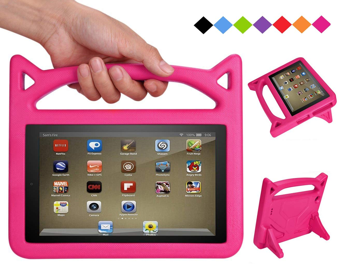 Fire 7 Tablet Case for Kids - SHREBORN Kids Shock Proof Protective Cover with Handle and Foldable Bracket for Kindle Fire 7 Inch Tablet (Compatible with 7th Generation / 5th Generation) - Rose