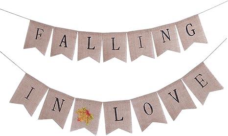 Shower Decor Wedding Decor Sunflower Wedding Banner,Thank you garland,Burlap Banner Bunting Fall in Love Thank You Burlap Banner