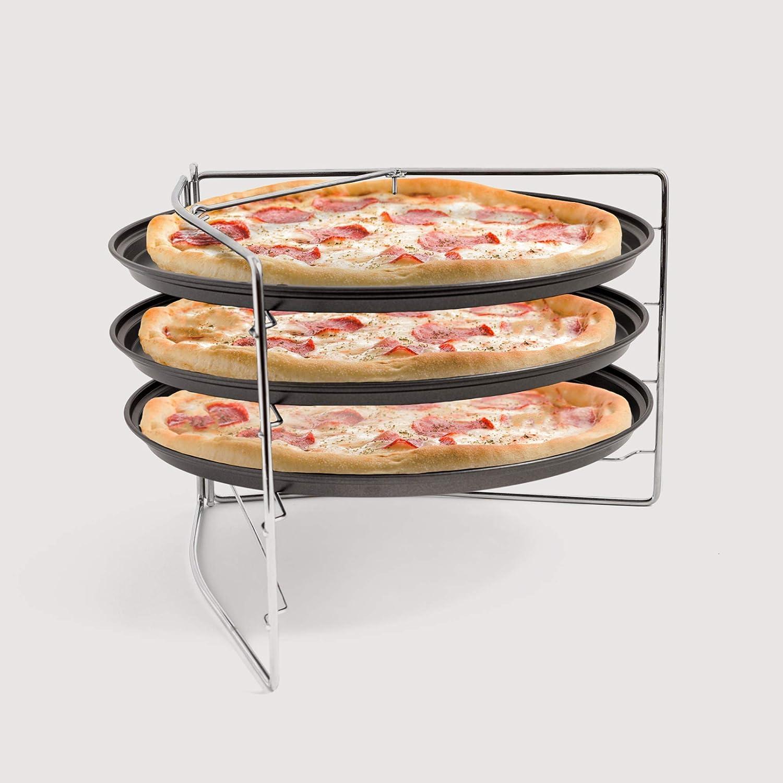 antiadherente Chef Pomodoro para horno Juego de horno para pizza con 3 sartenes y estante para pizza