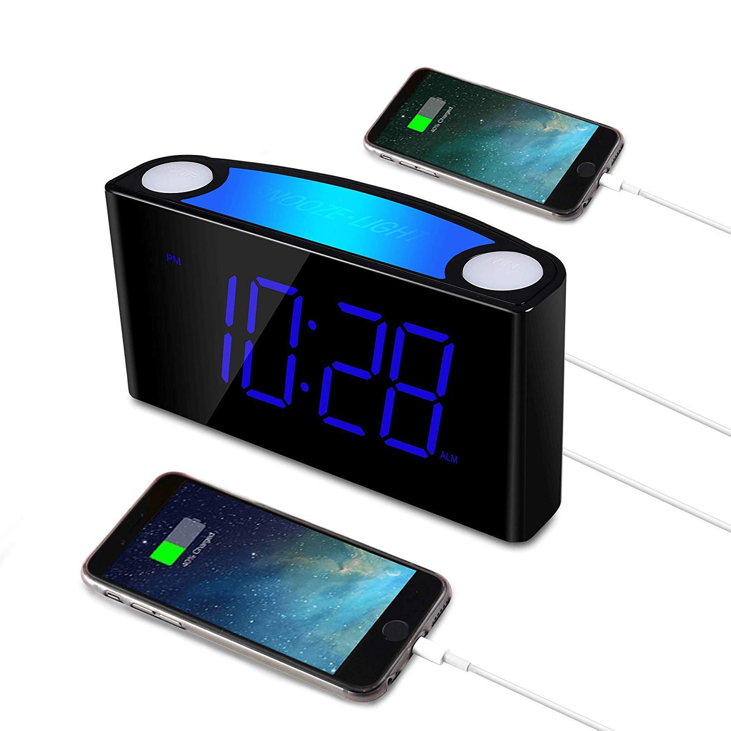 Alarm Clock for Heavy Sleepers,Raynic Loud Digital Alarm Clock with Bed Shaker,Dimmer,12/24H, DST,7