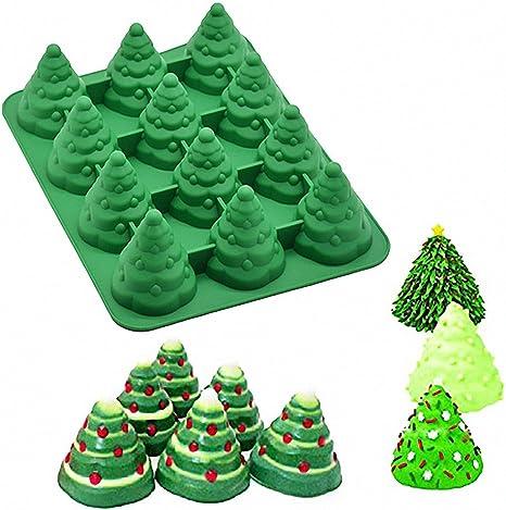 3D Xmas Silicone Molds Christmas Tree Snowman Fondant Mould DIY Chocolate Cake