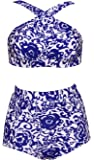 Dellukee Women's Retro Ruffle Floral Print High Waisted Swimsuit 2PCS Bikini Sets Beachwear