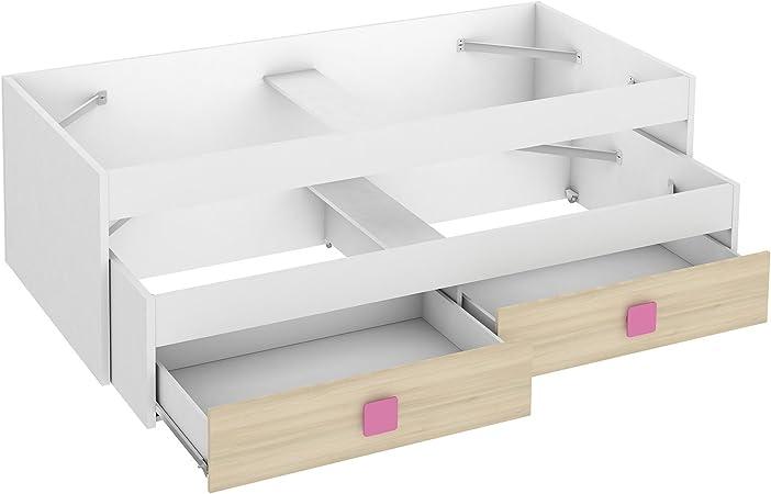 Cama nido con 2 cajones Akaz dormitorio juvenil color blanco y acacia tirador rojo 90x190: Amazon.es: Hogar