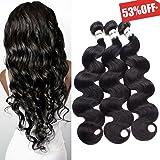 DMS Brazilian Virgin Hair Body Wave 300 Gram,100% Unprocessed Human Hair Bundles 100 Gram/Bundle Hair Extensions,Pack of 3,Natural Color Hair Weave Weft