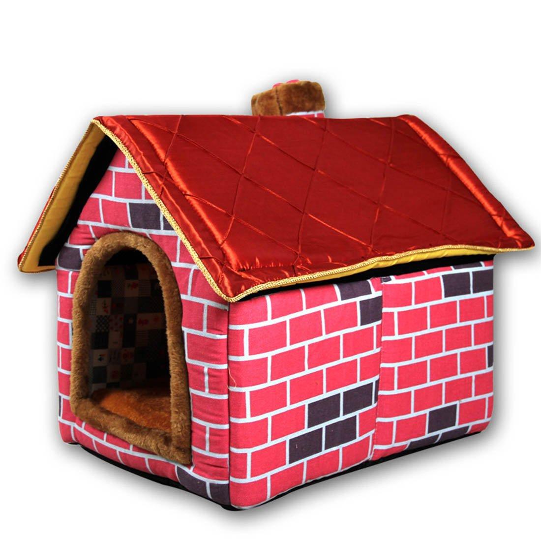 Hanshu Cálido Interior Suave caseta Mascota Grande Perro casa Perros Camas con Alfombrilla, Rojo: Amazon.es: Juguetes y juegos