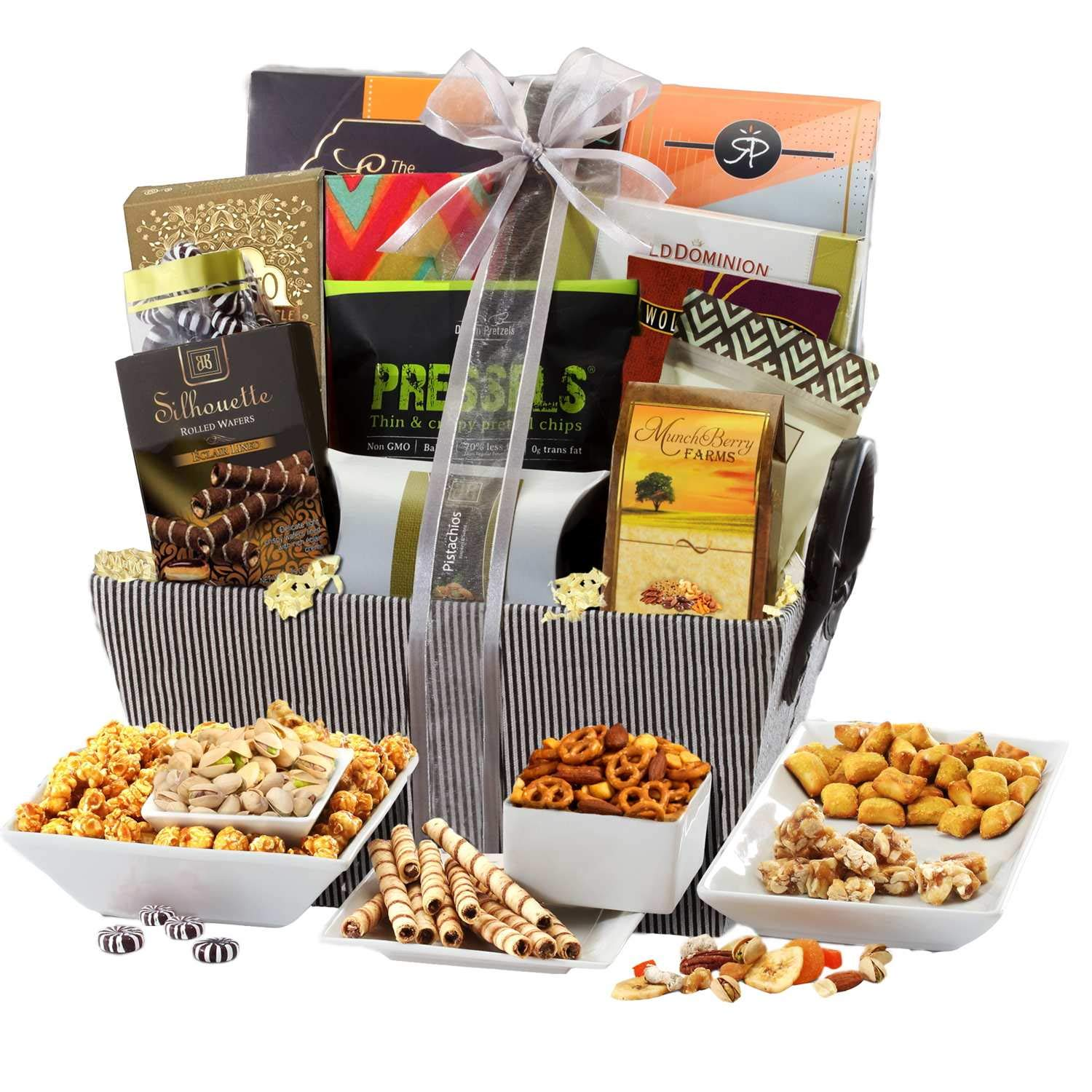 Sweet and Savory Gift Basket with Chocolates, Seasoned Nuts, Brittle, Pastries, Assorted Sweets & Snacks by Broadway Basketeers