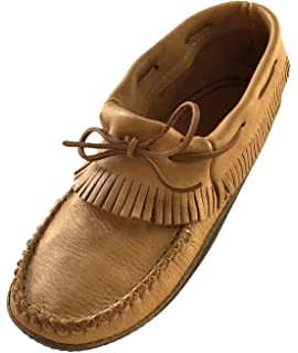 Bastien Industries Mens Fringe Moose Hide Leather with Heavy Oil Tan Sole Earthing Ankle Moccasins