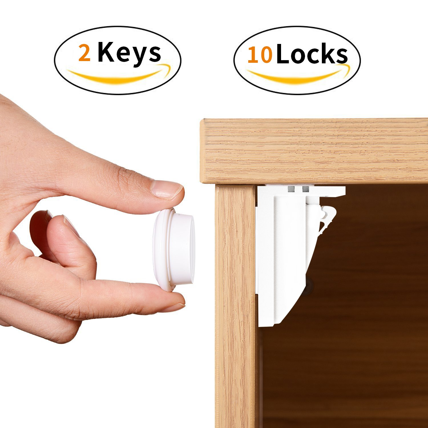 Baby Safety Magnetic Cabinet & Drawers Locks childproof Cupboard locking system No Tools Or Screws Needed- 3M Adhesive (10 Locks + 2 Keys)