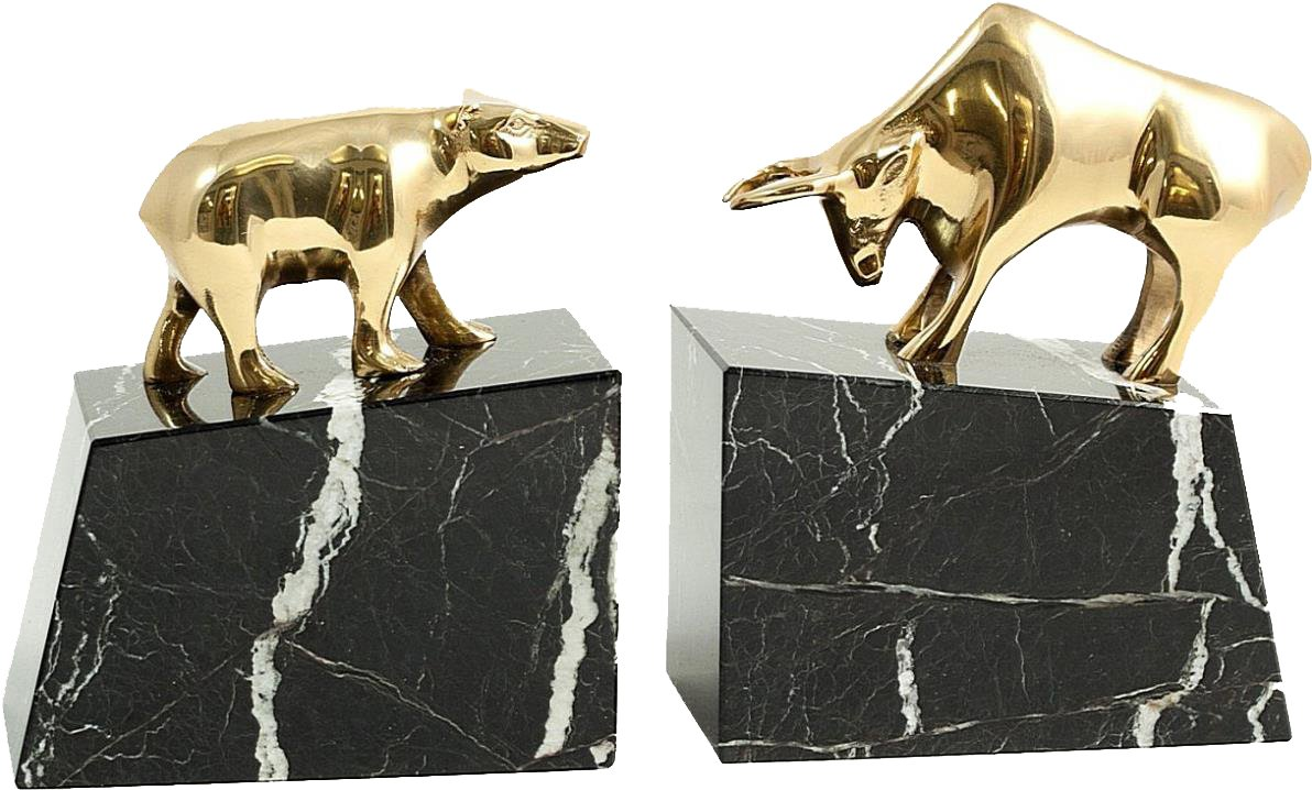 Wall Street Solid Brass Lacquered on Marble Bookends by Graphic Image
