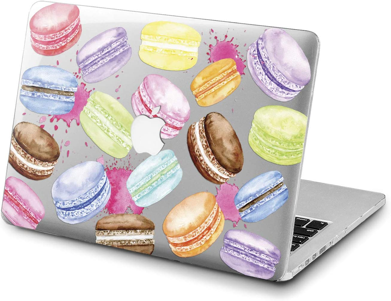 Lex Altern Clear Case Compatible with MacBook Air 13 Mac Pro 15 inch Retina 12 11 2020 2019 2018 2017 Girl Macaroon Print Pink Laptop Rainbow Touch Bar Cover Pattern Delicious Cute Plastic Food