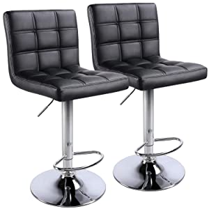 Yaheetech Bar Stools Set of 2 Modern Swivel PU Leather Chair Height Adjustable Kitchen Island Counter Height Barstools Black, with Bigger Base