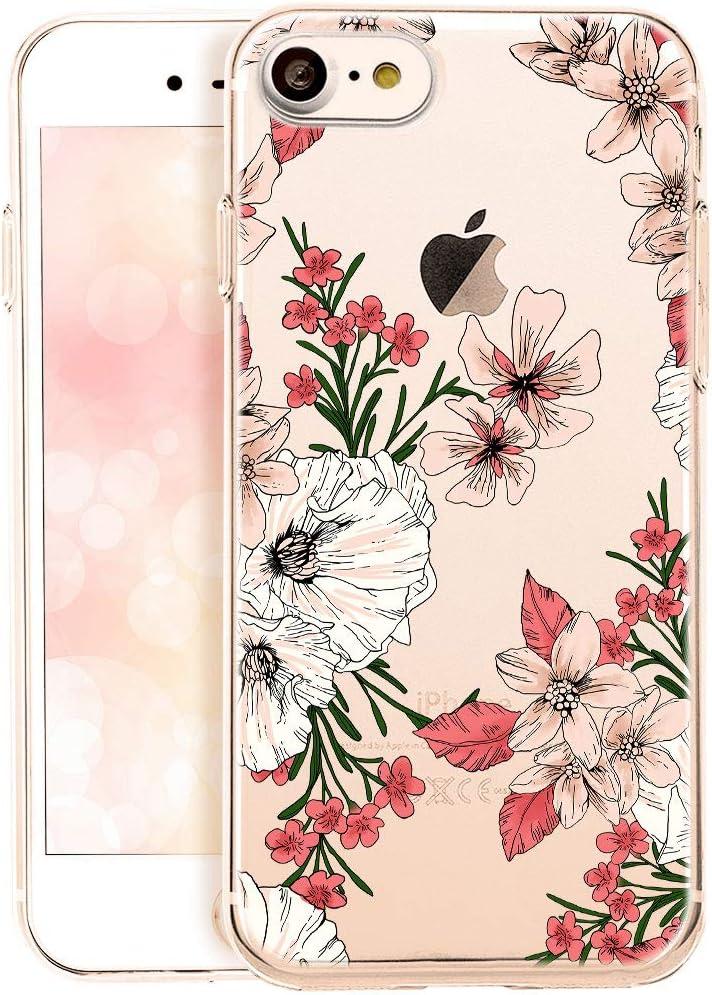 Qult Handyhülle Kompatibel Mit Iphone Se 2020 Iphone 7 8 Hülle Transparent Blumen Durchsichtig Motiv Silikon