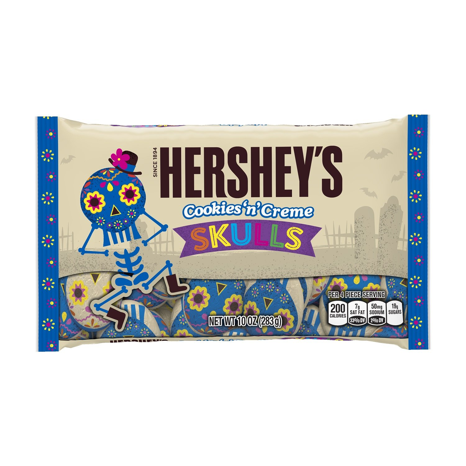 HERSHEY'S Halloween Cookies and Crème Skulls (10-Ounce Bag, Pack of 36) by HERSHEY'S