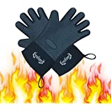 Long Silicone Grill Gloves - Heat Resistant Oven Mitts & Pot Holders for BBQ, Cooking, Baking – Wrist Protected, Waterproof, Cotton Layer inside, Non-slip Grill Accessories, 1 Size Fits All (Black)