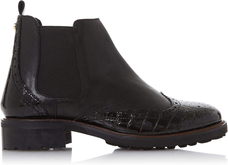 Quarters Brogue Chelsea Boots Flat Heel