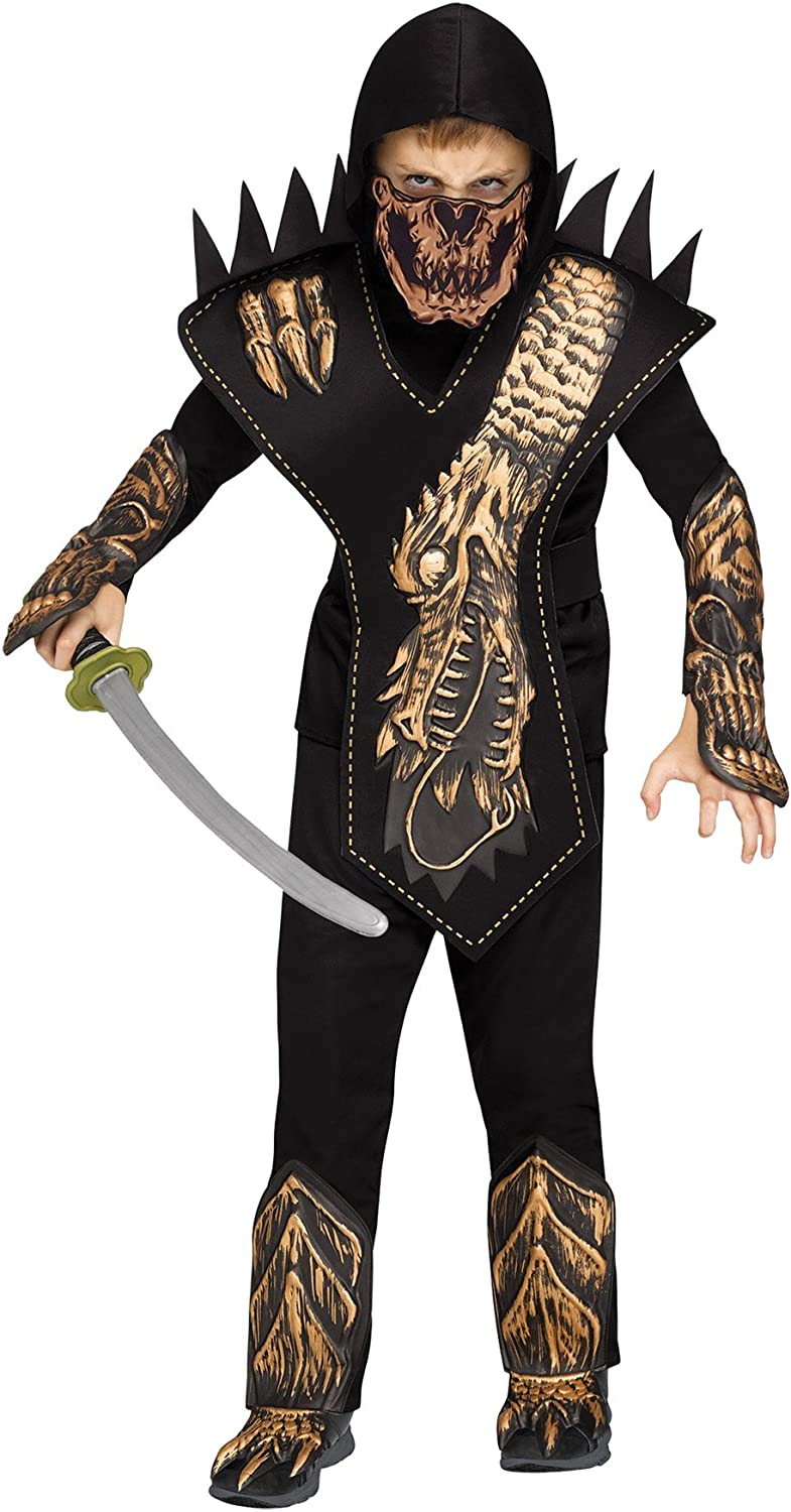 Fun World Skull Dragon Ninja Halloween 6pc Boy Costume